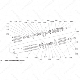Gusmer H-20/35 Hydraulic Cylinder Exploded Diagram