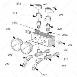 Reactor A-20 Fluid Manifold Exploded Diagram