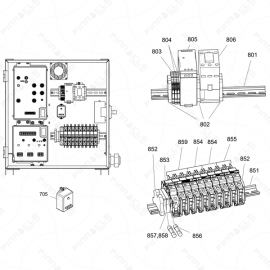 Reactor 2 H-40, H-50, H-XP3 Din Rail Exploded Diagram